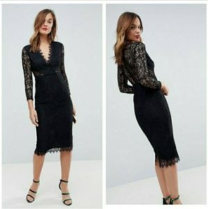 ASOS Long pencil dress with BEAUTIFUL LACE detail!